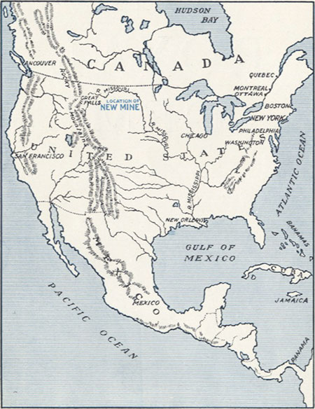 "North America, showing the position of the ""New Mine."" We now know this locality as the famous Yogo Gulch."
