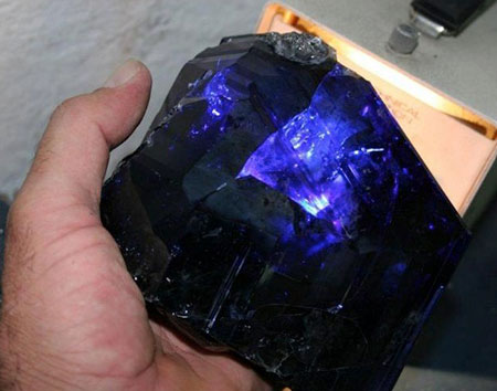 Indiglow.  TanzaniteOne, the mining company that formed the Tanzanite Foundation,  unearthed  this 12,000-carat crystal in early 2011. (Photo courtesy TanzaniteOne)