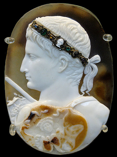 The Blacas Cameo. The cameo employs three layers of sardonyx, for the field, the portrait, and shield (of Minerva). According to the British Museum, the figure's delicate diadem was a replacement for the typical laurel wreath. It measures an ample 9.3 x 12.8 cm.