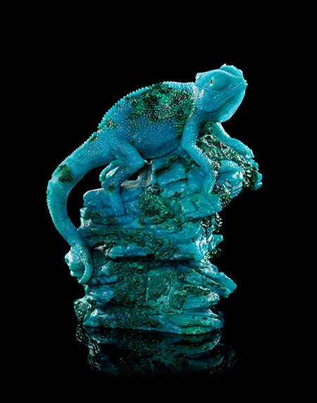 A sitting chameleon chrysocolla carving, Gerd Dreher for Asprey, Idar-Oberstein, Germany, 5.5 x 3.75 x 3.25 in.