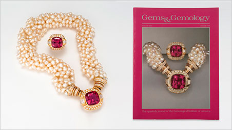 G&G Winter 1988:  An intense rubellite ring (13.8 carats) and necklace (18.5 carats) – both designed by Jeanne Larson – from the Tourmaline Queen Mine in San Diego County.  Click  to enlarge. (Photo by Orasa Weldon, left; © GIA; Cover Photo by Harold & Erica Van Pelt)