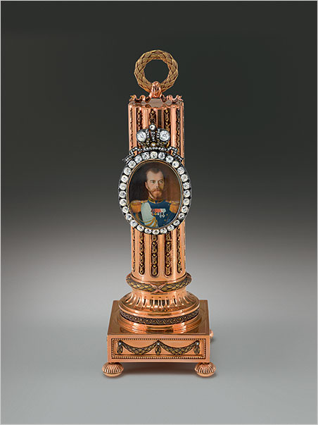 Carl Fabergé (1846–1920), Fabergé firm, St. Petersburg, Henrik Wigstrom (workmaster), Vasili Zuev (miniaturist).  Column Portrait Frame with a Miniature of Nicholas II , Imperial presentation gift, 1908. Gold, silver, diamonds, ivory, watercolor. 15.2 x 5.5 x 5.5 cm; miniature: 3.1 x 2.5 cm. Virginia Museum of Fine Arts, Bequest of Lillian Thomas. (Photos courtesy The Montreal Museum of Fine Arts)