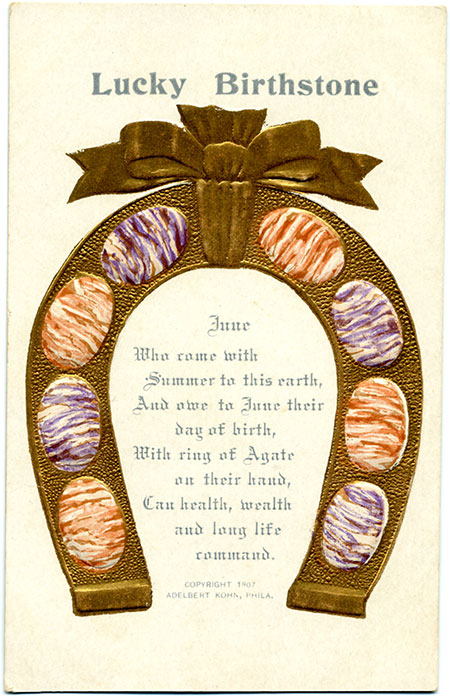 This card features an embossed horseshoe studded with agate ovals. Two other collecting cards for June are available here.