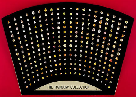 The Rainbow Collection will be displayed through April 26 at the  Harry Oppenheimer Diamond Museum  in the Ramat Gan diamond exchange complex. The collection includes three rare red beauties. (Photos courtesy Israel Diamond Exchange)
