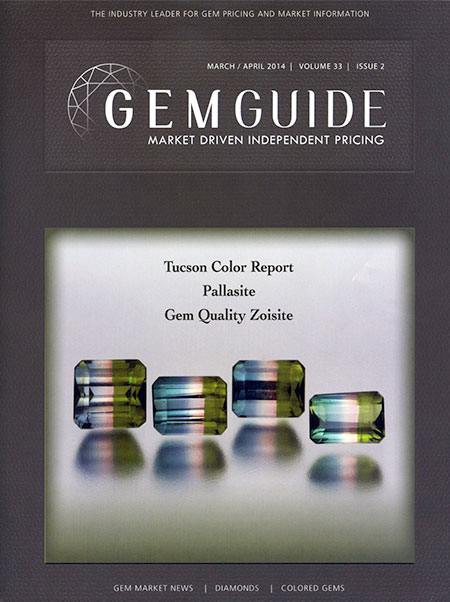 The March/April edition of the   GemGuide   features an image by Mia Dixon of four faceted bicolored tourmalines from Brazil with a combined weight of 4.62 carats.