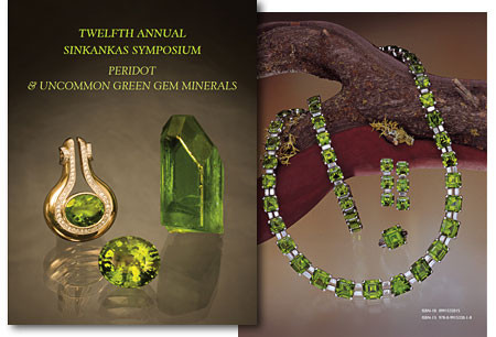 At left is Mia Dixon's cover image of three peridots from Burma's Mogok Stone Tract, which produces much of the best-quality peridot in the world: a gold pendant set with a 8.89-carat peridot and 0.46-ctw diamond, by Ilka Bahn and  available  from The Collector Fine Jewelry; an oval 13.16-carat peridot; and an exceptional single crystal from Pyaung-gaung weighing 167.25 carats and measuring 4.0 x 2.5 cm. Crystals from Pala International. At right is a peridot, diamond, and platinum jewelry suite designed and created by Van Cleef & Arpels. The 54 custom-cut peridots were provided by Fine Gems International, Helena, Montana, using peridots from the deposit in the Himalayan Mountains of Pakistan. The suite was the subject of Robert Kane's presentation at the symposium. The faceted gems range in weight from 3.57 to 18.30 carats for a total of 350.40 carats. The diamonds were supplied by Van Cleef & Arpels. Photo © GIA Harold & Erica Van Pelt. (See  preview .) To order the book, contact  Roger Merk .