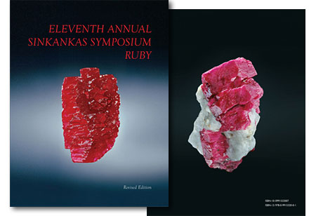Above, the front and back cover images from the 2013 symposium proceedings, published in a new edition. At left, the Hixon Ruby, a 196.10-carat Mogok crystal donated in 1978 by Frederick C. Hixon to the Natural History Museum of Los Angeles. At right, a massive Mogok ruby crystal on matrix, formerly in the collection of Pala International's Bill Larson. Both were photographed by Harold and Erica Van Pelt. (See  preview .) To order the book, contact  Roger Merk .