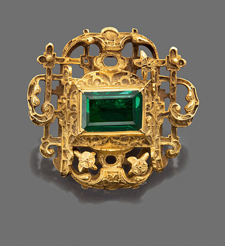 A Renaissance Colombian  emerald-set gold jewel  recovered from the shipwreck of the Spanish galleon, Nuestra Señora de Atocha, Florida Keys, 1622, sold Sotheby's New York, 1 February 2013, Sale N08964, Lot 11. (Photo: Sotheby's Picture Library)