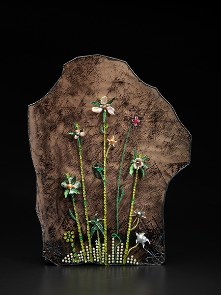 "Flower Painting by John Hatleberg, 20 x 15 1/2"". Akoya, South Sea, Tahitian, Chinese freshwater, keshi, seed pearls, moldavite, peridot, tsavorite, sphene, fuchsite, lemon quartz, tourmaline, white, yellow, brown diamonds with mica canvas in a patinated silver frame. Click to enlarge. (Photo: John Bigelow Taylor)"