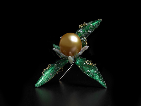 Pin  by John Hatleberg. Moldavite and Tahitian, keshi and seed pearls with 18 kt yellow gold. This pin was the inspiration for the flower painting on mica, above.  Click  to enlarge—please. (Photo: Tony Pettinato)