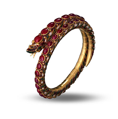 Naga bangle with rubies. Nagas are serpent deities that appear in Thai folklore and Buddhist imagery. Manus Siripatvanich/House of Goldsmiths Collection. Thailand, circa early 1900s. (Photo: Wimon Manorotkul)