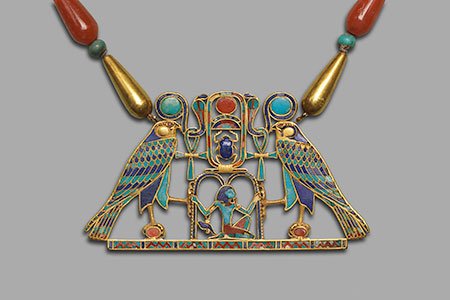 Pectoral of Princess Sithathoryunet. A. Pectoral: Gold, inlaid with turquoise, lapis lazuli, carnelian, garnet. H. 4.5 cm (1¾ in.), W. 8.2 cm (3¼ in.). B. Necklace: Gold, lapis lazuli, carnelian, feldspar, amethyst, turquoise Twelfth Dynasty, reign of Senwosret II (ca. 1887–1878 B.C.E.). The Metropolitan Museum of Art, New York, Purchase, Rogers Fund and Henry Walters Gift, 1916 (16.1.3a, b). Click to enlarge. (Photo © The Metropolitan Museum of Art, New York)