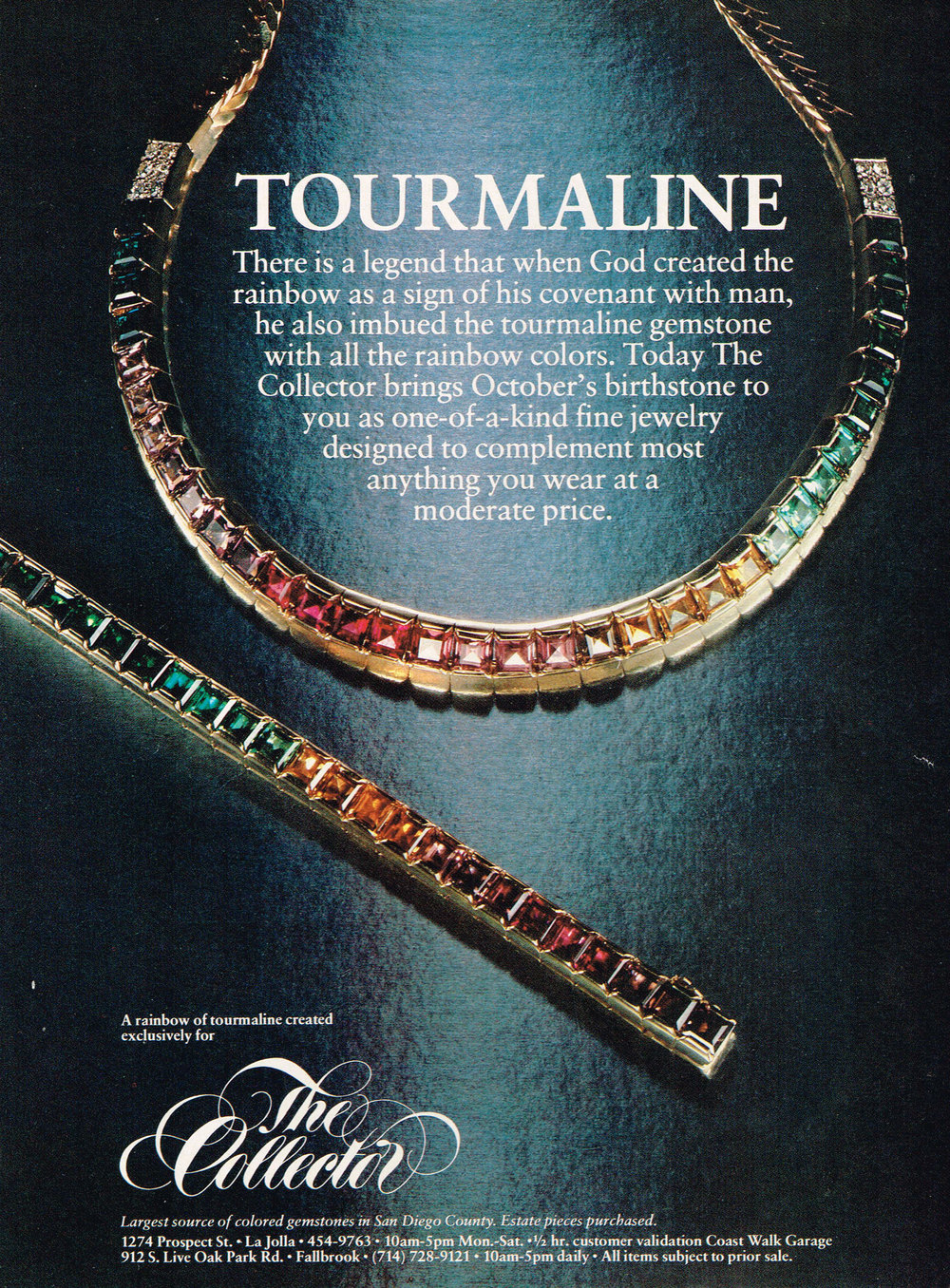 In the early 1980s, an ad like the above was one of the only ways Pala International (and its retail relative, The Collector Fine Jewelry) had to attract clientele. In early 2000, Richard W. Hughes debuted Pala's Palagems website, and text-based news was sent to subscribers on an as-needed basis. With the departure of Richard in 2005 and the introduction of brother David as news editor, an image-rich monthly newsletter began.     Ten years later we felt it was time to craft a new look to our website and this monthly e-newsletter. Like the new website, the revamped newsletter will adapt well to mobile devices.       Let us know what you think.