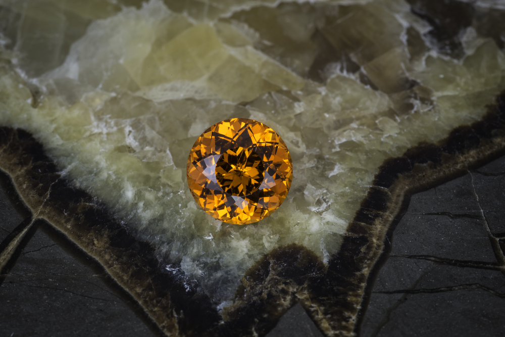 Spessartine garnet from Nigeria, 7.54 carats, 10.61 x 10.59 x 7.81 mm. This has been sold. (Photo: Mia Dixon)