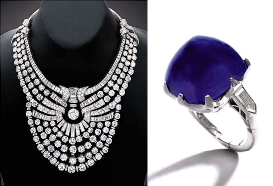 "Jingle bell rocks. The necklace at left was created by Van Cleef & Arpels in 1939 for Queen Nazli of Egypt. Set with 217 carats of diamonds, it was described by jewelry historian Vincent Meylan ""A Perfect Piece of Jewellery."" The ring at right comes from dynasty of Wall Street financier Thomas Fortune Ryan, far less known than his peers, Andrew Carnegie, J. P. Morgan, and John D. Rockefeller, but just as powerful. The ring features a 25.87-carat sugarloaf cabochon natural Kashmir sapphire. Guess which one set a record last Wednesday. (Photos: Sotheby's news release)"