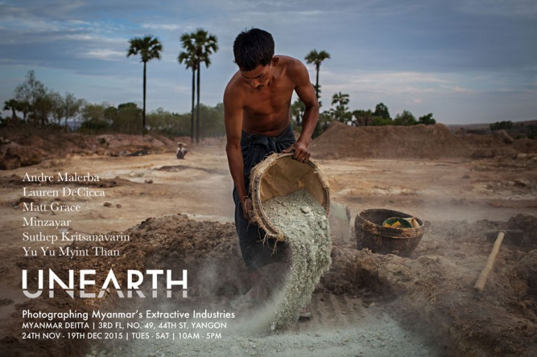 Through December 19. This past summer, six photographers examined Burma's extractive industries sector. They looked at oil drilling near the Irrawaddy River, followed up on a copper mine protest crackdown, and traced the black market in jade. Unearth is the result, and it is the backdrop to Burma's first report to the Extractive Industries Transparency Initiative, which is to be issued by the end of this month, as reported by The Irrawaddy. The report is being eagerly awaited by the likes of Spectrum, a local transparency group, per Myanmar Times.