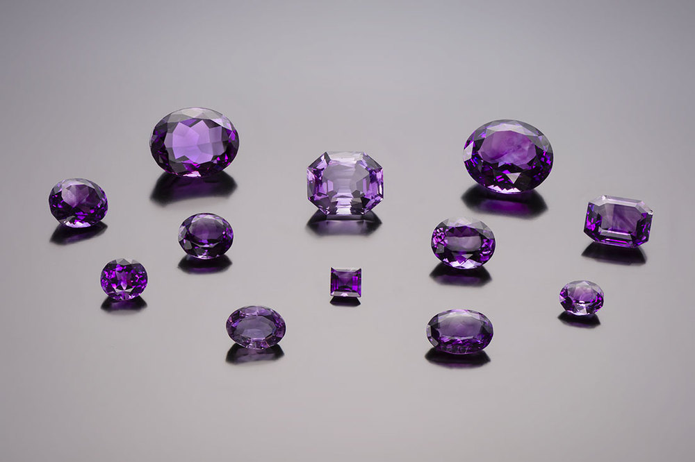 Violaceous. These rare purple gems come from an ornament made with 235 amethysts crafted by François-Regnault Nitot in 1811 for the Empress Marie-Louise, second wife of Napoléon Bonaparte. Louis XVIII had the ornaments undone to reuse some of the gems; the rest were kept in the collection of the French crown jewels. In 1887, the majority of the unmounted amethysts were given to the School of Mines and twelve were deposited in the National Museum of Natural History. These gemstones likely come from the Ural Mountains region of Russia. (Photo: © MINES ParisTech – A. Stenger)
