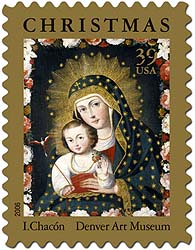 Remember when… stamps cost 10¢ less? Madonna and Child with Bird, Ignacio Chacón, Peru, ca. 1765, oil paint and gold on canvas. Denver Art Museum Collection: Gift of Engracia Freyer Dougherty.
