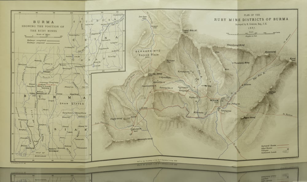 This map accompanies this article. At left, the ruby mining district in its international context. At right, drilling down on the district. Click to enlarge.