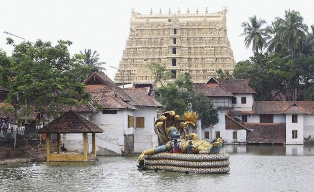 The Sree Padmanabhaswamy temple looms in the background while in the foreground lies an image of its namesake: Vishnu assuming the Anantha Shayanam posture in his yogic sleep atop the multi-headed serpent Adisheshan. Last June, a book about the temple was released, and the occasion was the opportunity for discussion of its history and lingering issues about royalty.