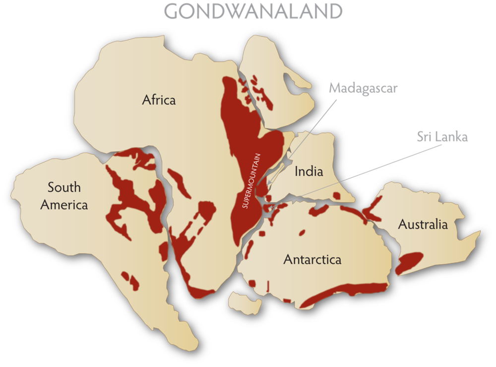 Gemstone occurrences in red, in the supercontinent dubbed Gondwanaland by paleogeographers. This is adapted from John Saul's  A Geologist Speculates . (Illustrations: R. W. Hughes)