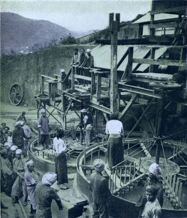 European washing mill. These mills cast away all large stones and rubbish and collect the fine sand from which rubies are obtained.