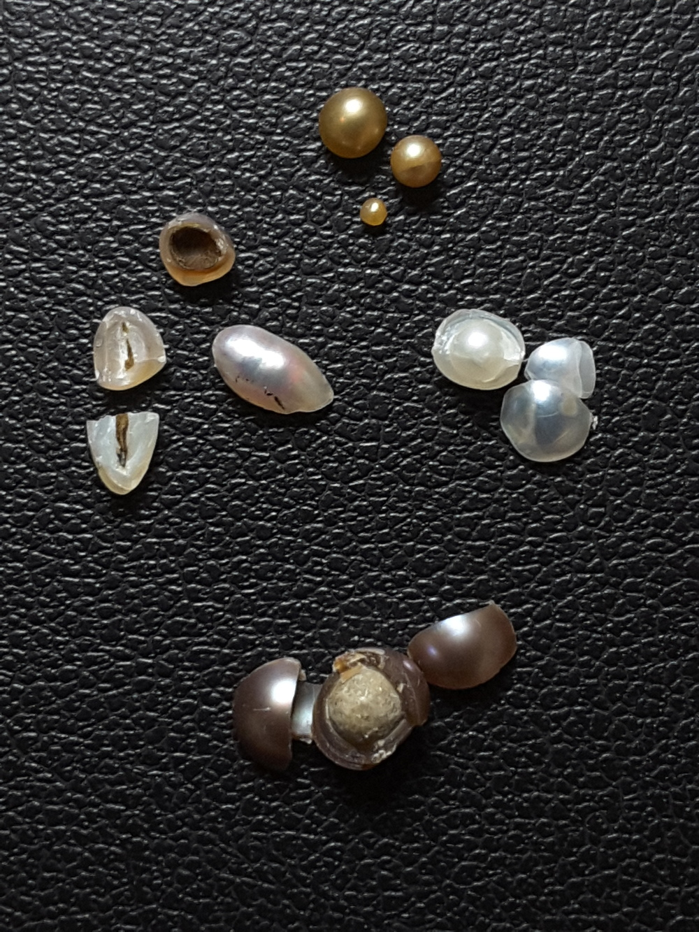 Mexican Pteria sterna natural pearls from the research collection at IACT. Source: Perlas del Mar de Cortez. ■ The group of three white shards on top were a round white pearl—an outer layer of nacre has fractured away, exposing the surface of an inner layer: as often the case, their break happened along a major change in the structure of nacre. It took one more break to find out how this pearl started (below). ■ To the left: three of eighty-something small golden pearls found in a single shell—see the first growth of two of them below. ■ The bright oval and the two pieces below were a single pearl; another from the same small lot of 'hinge' pearls broke across—laf is shown with its large, hollow interior facing up. Note that both these pearls enclose empty chambers. ■ The brown pearl looks more iridescent, darker and not necessarily brown in person—the camera would not play along. The large mineral body turned out to be a beautiful surprise, impossible to guess from its rough skin visible here.