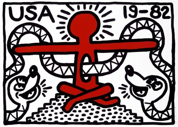 Hot doggie(s)!   Keith Haring often used snake imagery in his work, but not usually as whimsically as in this lithograph,  USA 19-82  ,  in the style of a U.S. Postal Service stamp. Lithograph, 22 x 30 inches, edition of 50. And, yes, a Haring image has  appeared  on at least one postage stamp. (Image © Haring Foundation, courtesy Museo di Roma)