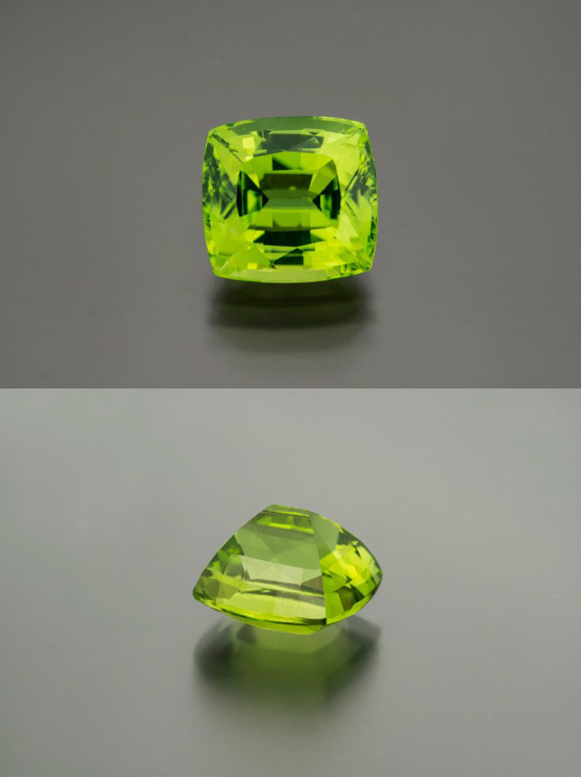 Besides Egypt, lovely, limpid peridot comes from Burma as well. This 11.49-carat cushion-cut stone is in keeping with this month's green theme. It comes with a GRS cert. Inventory #22452. (Photos: Mia Dixon)