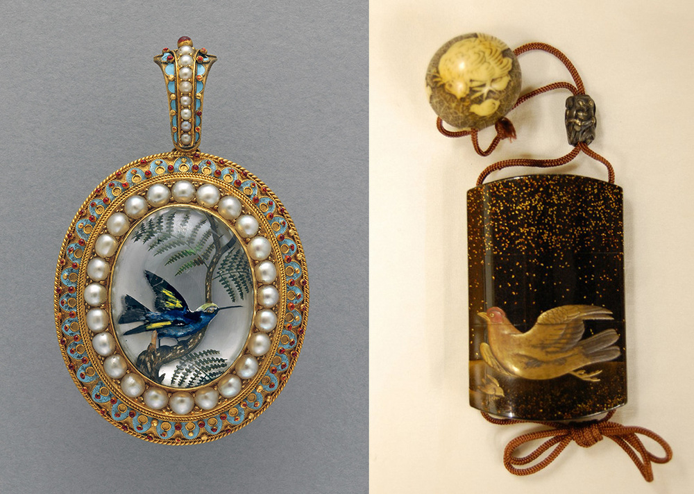 Tweet. At left, a pendant from about 1873 produced by William James Thomas, London, exhibited at the World Exhibition 1873 Vienna. Its center scene is a reverse crystal intaglio, mounted in gold surrounded by pearls and enamelwork, 5.9 x 3.7 cm. It contains a compartment in back for a photograph or lock of hair. At right, a three-case inro by Shibyo, undated, made of takamakie lacquer. Shown is the reverse, depicting a hen and her chick; the cockerel is on the obverse. The ivory netsuke, by Issai, depicts the hen and two chicks; its obverse, the cockerel. The silver ojime bead, maker unknown, is in the form of an owl and other birds. Both objects bequeathed by Anne Hull Grundy. Click to enlarge. (Photos: left, © Fitzwilliam Museum, Cambridge; right, © The Trustees of the British Museum)