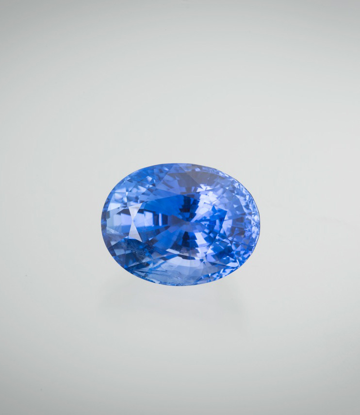 Natural Sri Lankan sapphire, 15.20 ct., 15.95 x 12.28 x 9.84 mm. Price available upon request. (Photo: Mia Dixon)