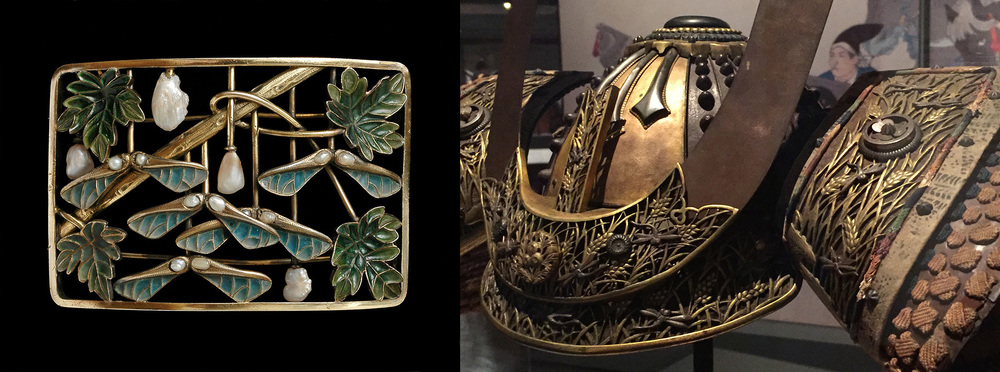 Samaras and samurai. At right, he same helmet from Samurai is shown in more detail, revealing gilded openwork plates depicting a pattern of grain over which silvered iron dragonflies flit. At left, a convex choker plaque from the Hull Grundy collection at the British Museum. Using turquoise and green plique-à-jour enamels on gold, the unnamed maker depicts sycamore leaves and samaras (winged seed pods), the seeds being small pearls. Thrown in for good measure are baroque pearls on stems, possibly depicting the tree's buds. The plaque, created ca. 1900, measures 5 x 7.3 cm. Click to enlarge. (Photos: left, © The Trustees of the British Museum; right, David Hughes)