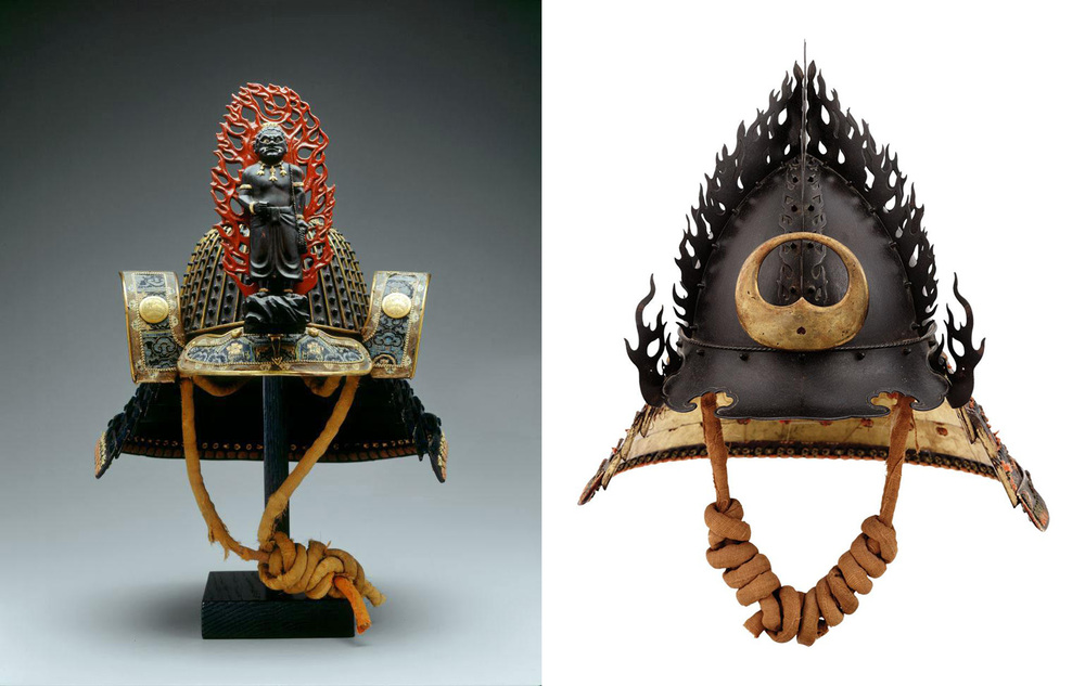 "Flaming jewels.  Left, Riveted Helmet ( Hoshi Sujibachi Kabuto ), representing the ""Immoveable One."" Signed by Myochin Yoshiiye Late Muromachi–early Edo period, late 1500s–early 1600s. Iron, brocade, leather, wood, lacing. Right,  Kaen kabuto  (flame helmet) representing  hoju no tama  (the flaming jewel). Signed: Unkai Mitsuhisa kore o tsukuru (made by Unkai Mitsuhisa). Early Edo period, ca. 1630. Iron, lacquer, lacing, gold, bronze. (Photos: Brad Flowers, © The Ann & Gabriel Barbier-Mueller Museum, Dallas)"