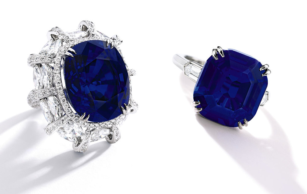Not to scale.  The 38.88-carat Burmese sapphire is on the left, the 10.00-carat Kashmir on the right. (Photos: Sotheby's news release)