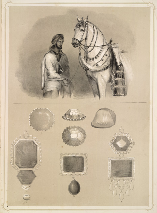 "A lithograph of head officer of Maharaja Ranjit Singh's stables, from Emily Eden's ""Portraits of the Princes and People of India."" Like Nader Shah, Singh adorned his beloved horses with priceless trappings, mainly emeralds. Somewhat lower in esteem, the Koh-i-noor (two views at top center), which adorned his horses on special occasions. All subjects drawn from life; for full description, see The British Library. (Click to enlarge)"