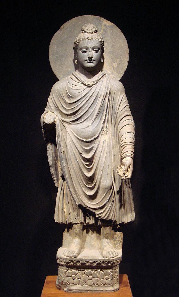 Standing Buddha, 1st to 2nd century C.E., Gandhara (Peshawar, Pakistan). (Tokyo National Museum)