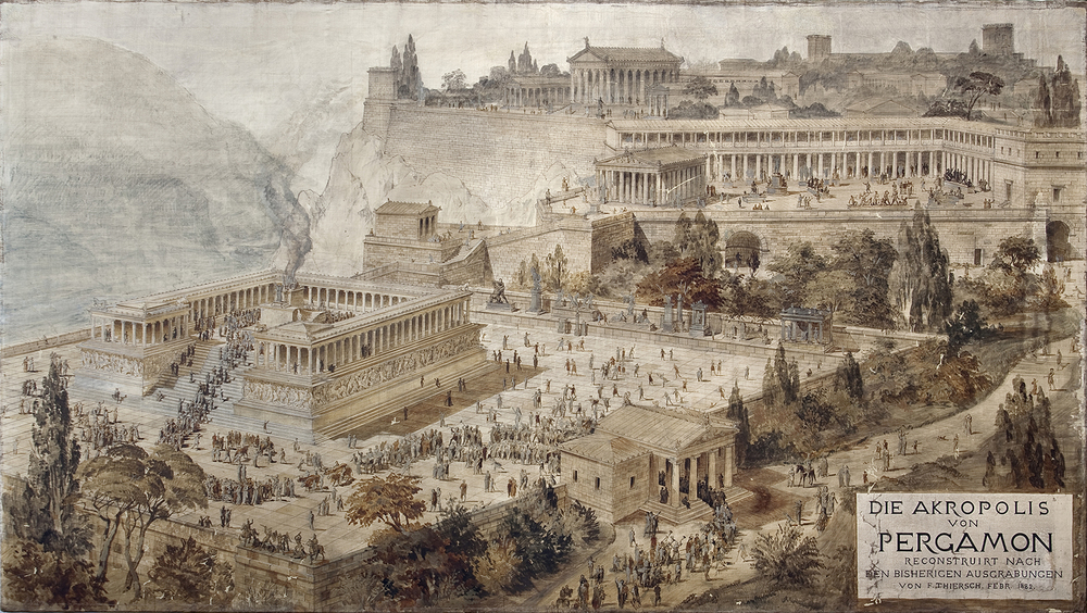 The Akropolis of Pergamon by Friedrich (von) Thiersch, 1882. Pen and ink with watercolor on canvas. Antikensammlung, Staatliche Museen zu Berlin (Graph 91). Click to enlarge. See a panoramic video of present-day and ancient Pergamon here. (Image: © SMB / Antikensammlung)