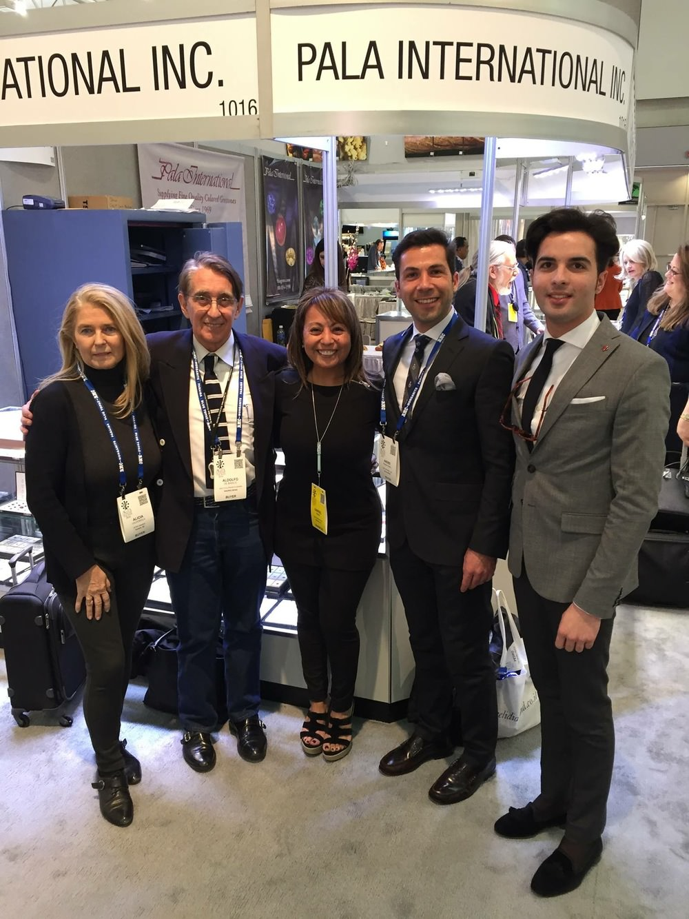 Iberian connection.  Gabrièl Mattice, center, at the AGTA GemFair in Tucson with buyers from Spain and Portugal. From left, Alicia de Vildósola, Adolfo de Basilio, André Neves Bento, Pedro Joaquin Fernandez De Ulloa Molina.