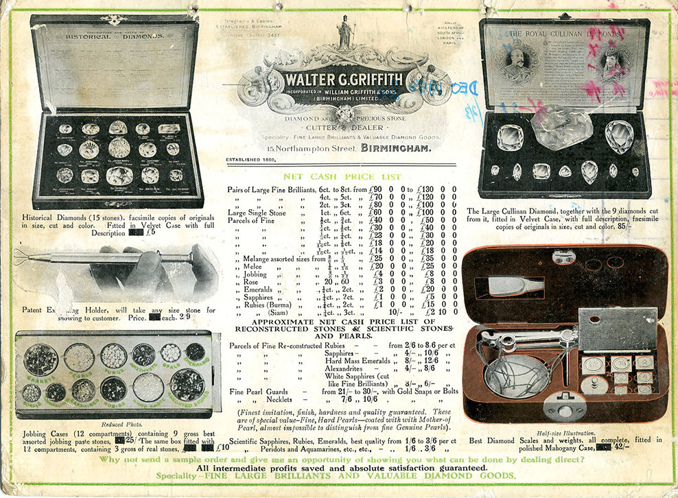 Hurry, before prices are raised again. Several of the items in this promo piece from William Griffith & Sons have altered prices. From the collection of Bill Larson, Pala International. (Click to enlarge)