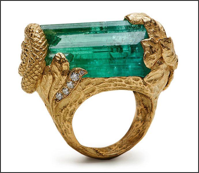 Mint tourmaline crystal. Ring by Katy Briscoe. (Photo: Kennon Evett)
