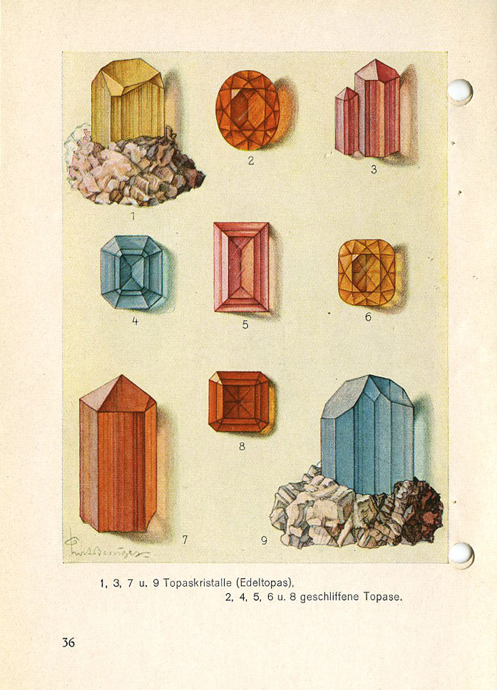 PAGE 36: Various colors (i.e.—varieties) of Topaz—not to be confused with Topaz Quartz or Citrine shown on page 40.