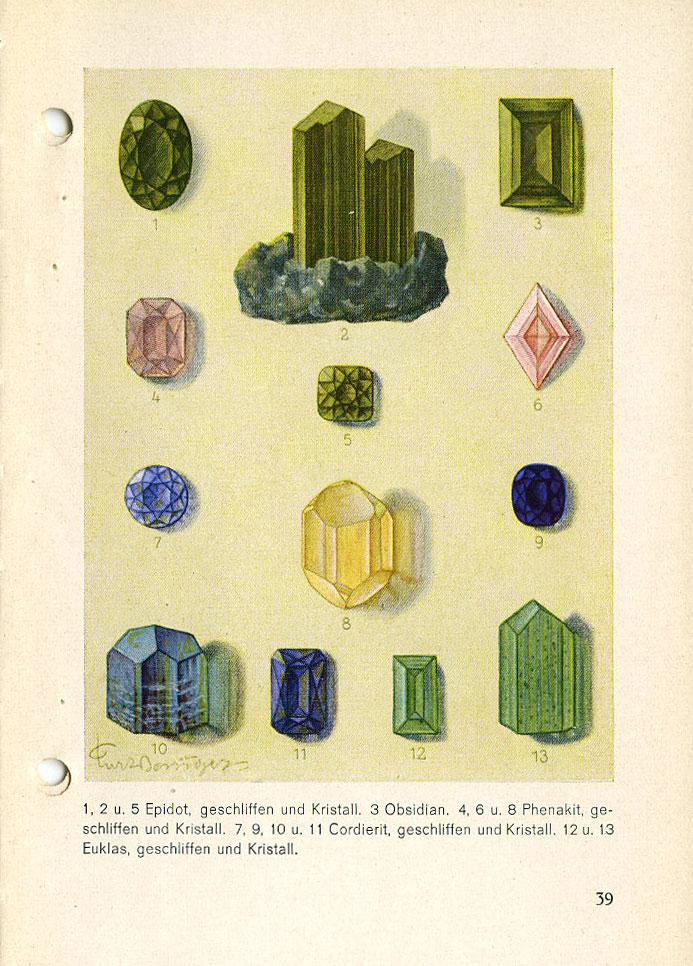 PAGE 39: 1, 2 & 5—Epidote. 3—Moldavite (a natural glass similar to Obsidian). 4, 6 & 8—Phenacite. 7, 9, 10 & 11—Iolite. 12 & 13— Euclase (a finer quality is light blue).