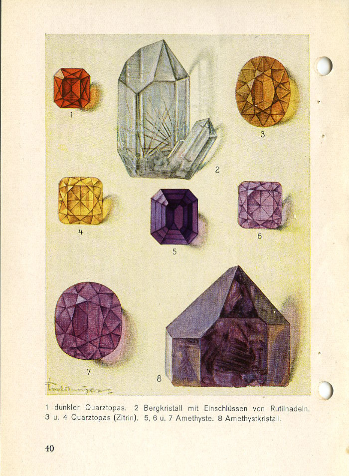 "PAGE 40: 1—Topaz Quartz (""Spanish topaz""). 2— Quartz (var.—Rock crystal with inclusions 01 Rutile needles). 3 & 4—Topaz Quartz, or Citrine. 5, 6, 7 & 8—Quartz (var.—Amethyst)."