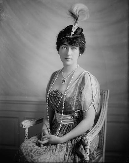Evalyn Walsh McLean with two impressive diamonds: the Hope (as a pendant) and Star of the East (in her plumed tiara). (Photo: Harris & Ewing Collection, Library of Congress)