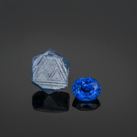 Blue sapphire crystal, 25 mm, and Sri Lankan oval cut sapphire, 11.67 carats.
