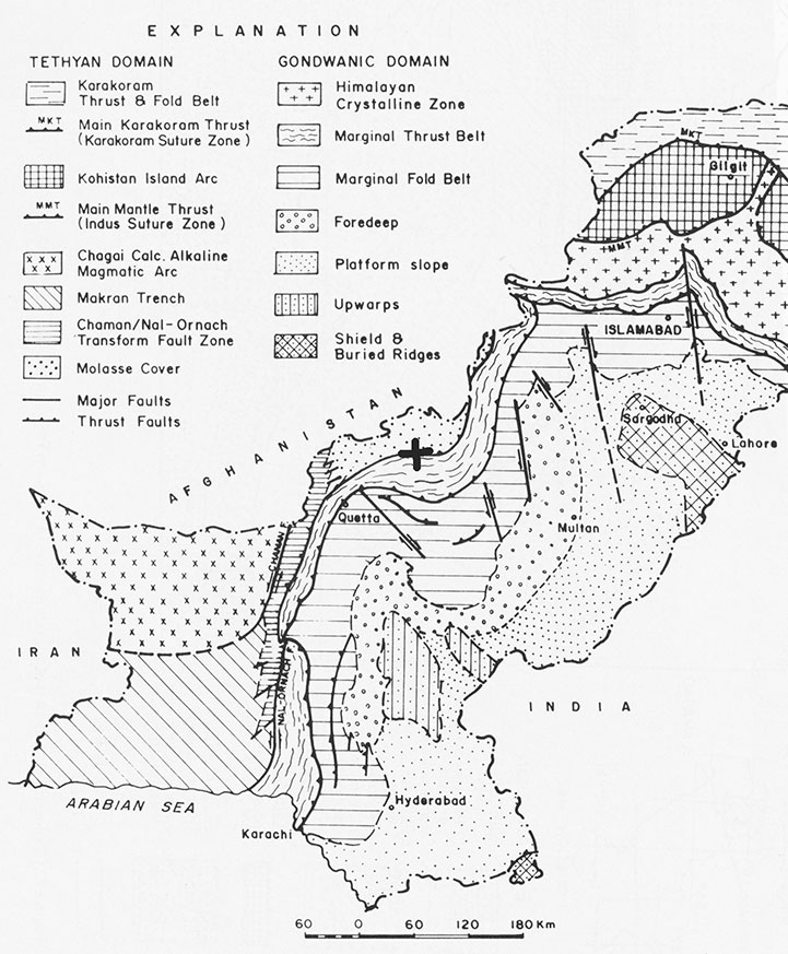 A tectonic map of Pakistan, modified after Kazim & Snee (1989). The area where the rocks are found is indicated with a cross.