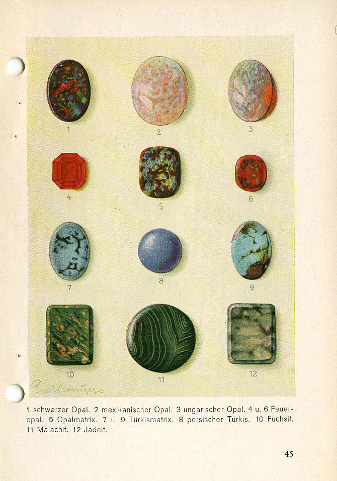 PAGE 45: 1—Black Opal. 2—Mexican Opal. 3—Hungarian Opal. 4 & 6—Fire Opal. 5—Opal Matrix. 7 & 9—Turquoise Matrix. 8—(This color represents no natural stone). 10—Fuchsite (not a gem stone). 11—Malachite. 12—Jadeite.