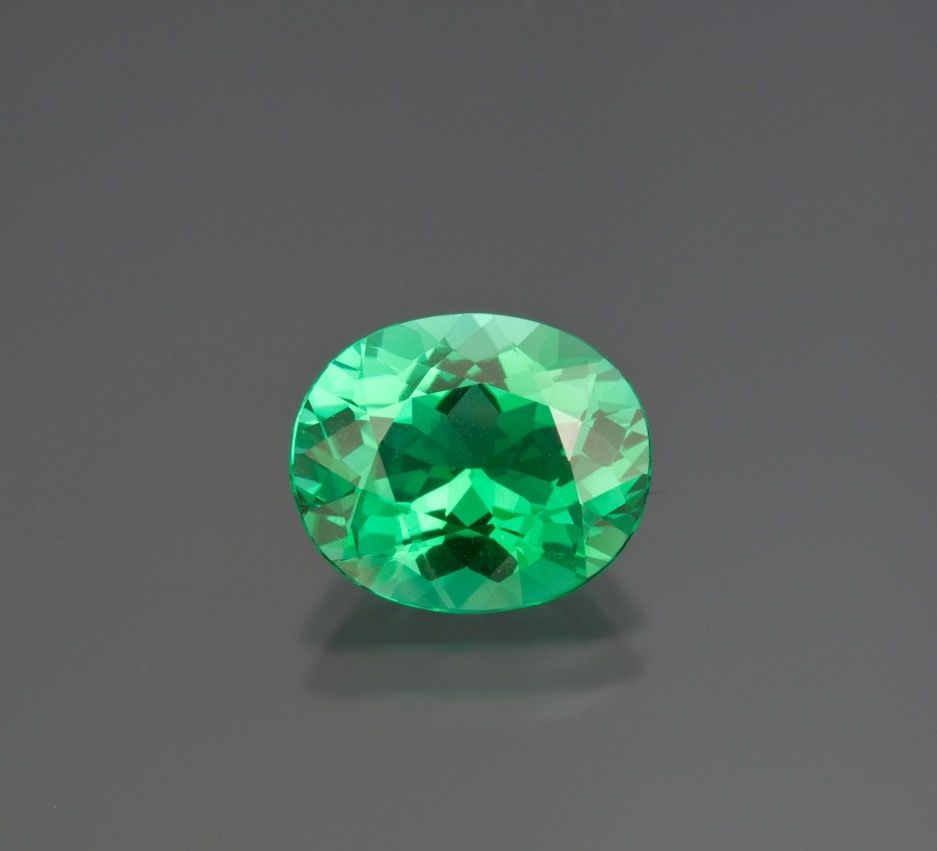 Think a new Green. Paraiba from Mozambique, 5.37 ct, 12.59 x 10.5 x 6.7 mm. Inventory #16634. (Photo: Mia Dixon)
