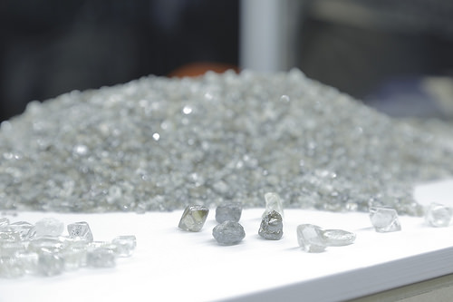 A sample of production from the Renard Diamond Mine, displayed at the opening ceremony on October 19. (Photo courtesy Stornaway Diamond Corporation)
