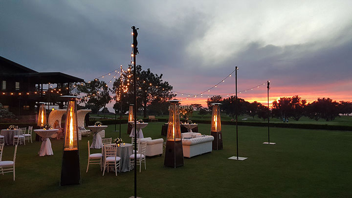 Site of the al-fresco cocktail reception on the grounds of The Lodge at Torrey Pines. (Photo: Lisa Albright Ratnavira)
